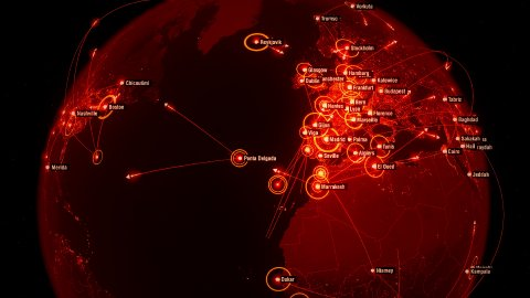 Global Communications all over the World. Arrows fly between Cities. Red Version - stock footage