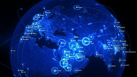 Global Communications all over the World. Arrows fly between Cities. Blue. - stock footage