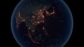 World Zoom Into Far East. The Night View from Space. City Lights. 4k