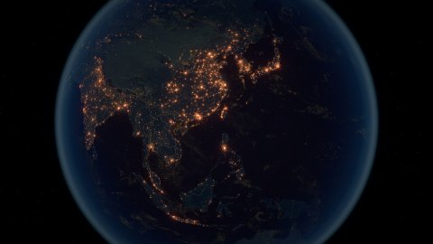 World Zoom Into Far East. The Night View from Space. City Lights. 4k - stock footage