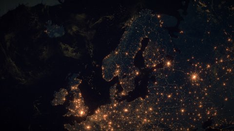 World Zoom Into Scandinavia. The Night View from Space. City Lights. 4k - stock footage