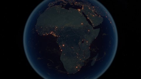 World Zoom Into Africa. The Night View from Space. City Lights. 4k - stock footage