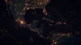 World Zoom Into Middle America. The Night View from Space. City Lights. 4k