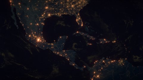 World Zoom Into Middle America. The Night View from Space. City Lights. 4k - stock footage