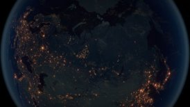 World Zoom Into Russia. The Night View from Space. City Lights. 4k