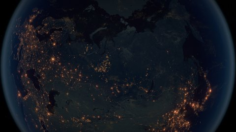 World Zoom Into Russia. The Night View from Space. City Lights. 4k - stock footage