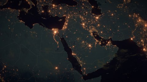 World Zoom Into Near East. The Night View from Space. City Lights. 4k - stock footage