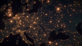 World Zoom Into Central and Eastern Europe. Night View from Space. City Lights.