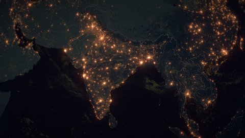 World Zoom Into India. The Night View from Space. City Lights. 4k - stock footage