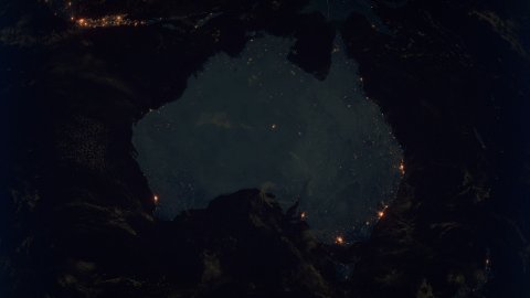 World Zoom Into Australia. The Night View from Space. City Lights. 4k - stock footage