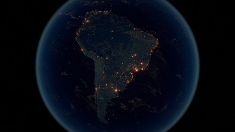 World Zoom Into South America. The Night View from Space. City Lights. 4k - stock footage