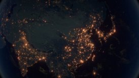 World Zoom Into China. The Night View from Space. City Lights. 4k