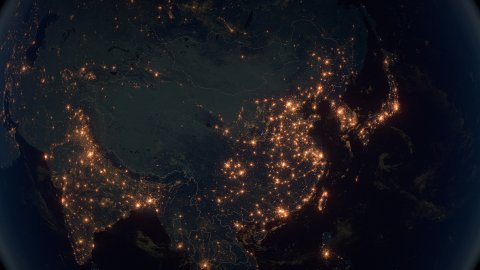 World Zoom Into China. The Night View from Space. City Lights. 4k - stock footage