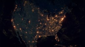 World Zoom Into USA. The Night View from Space. City Lights. 4k