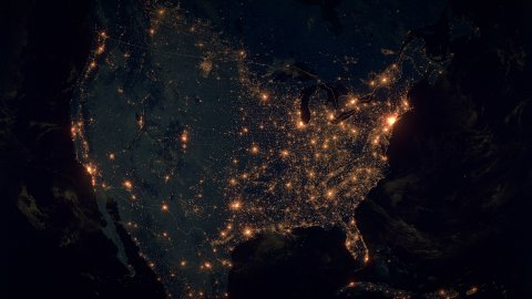 World Zoom Into USA. The Night View from Space. City Lights. 4k - stock footage