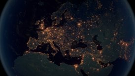 World Zoom Into Europe. The Night View from Space. City Lights. 4k