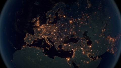 World Zoom Into Europe. The Night View from Space. City Lights. 4k - stock footage