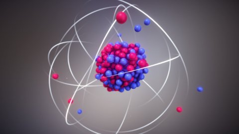 Atomic Nucleus - Protons and Neutrons at the Center of an Atom - stock footage