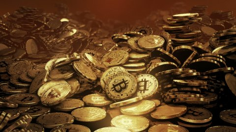 Stacks of Bit Coins BTC. - stock footage