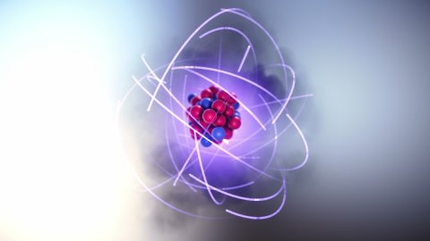 3D Model of Atom. Protons and Neutrons in Atomic Nucleus and Orbiting Electrons. - stock footage