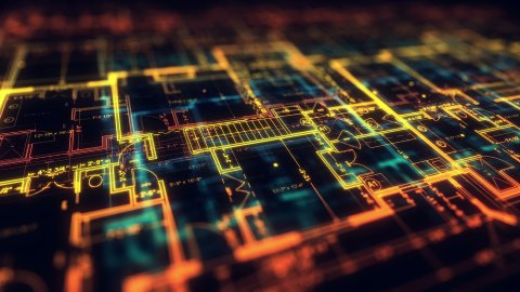 Cad concept. Architecture plan. Loop. The Depth of Field. - stock footage