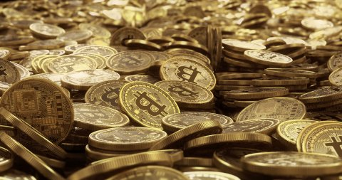Bitcoin - Bit Coin BTC Background. Camera flyover. Seamless Loop. - stock footage
