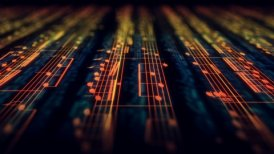 Musical notes composition background in yellow and orange. DOF, LOOP.