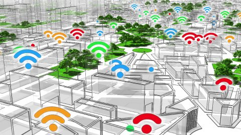 Wifi in the City. Network Connections and Wifi Symbols. Loop. - stock footage
