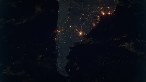 World Zoom Into Argentina and Chile. The Night View from Space. City Lights. 4k - stock footage