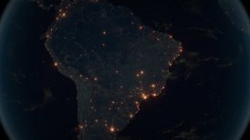 World Zoom Into Brasil. The Night View from Space. City Lights. 4k