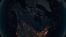 World Zoom Into Canada. The Night View from Space. City Lights. 4k