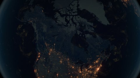 World Zoom Into Canada. The Night View from Space. City Lights. 4k - stock footage