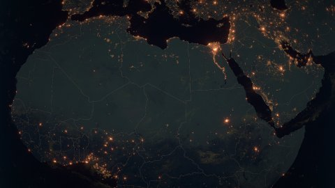 World Zoom Into North Africa. The Night View from Space. City Lights. 4k - stock footage