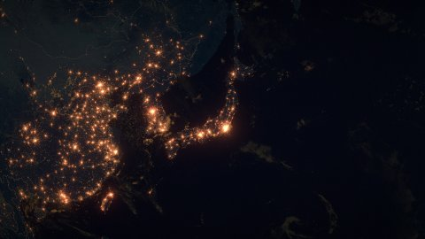 World Zoom Into Japan. The Night View from Space. City Lights. 4k - stock footage