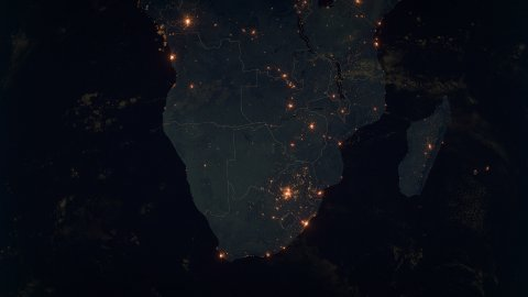 World Zoom Into South Africa. The Night View from Space. City Lights. 4k - stock footage