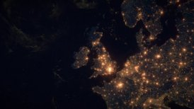 World Zoom Into UK. The Night View from Space. City Lights. 4k