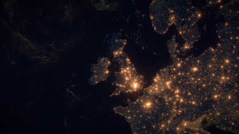 World Zoom Into UK. The Night View from Space. City Lights. 4k - stock footage