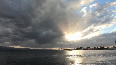 Fast Moving Clouds and Yachts Anchored in Eretria, Greece. Timelapse in 4k. - stock footage