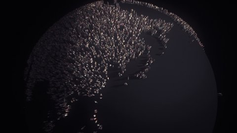 People of the World. Global Customers. Human Overpopulation. Dark Version. - stock footage