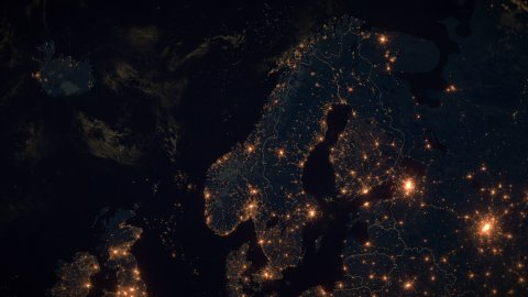 World Zoom Into Norway, Scandinavia. The Night View from Space. City Lights. 4k - stock footage