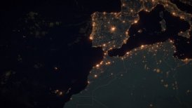 World Zoom Into Spain. The Night View from Space. City Lights. 4k