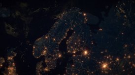 World Zoom Into Finland, Scandinavia. The Night View from Space. City Lights. 4k