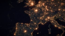 World Zoom Into France. The Night View from Space. City Lights. 4k