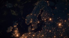 World Zoom Into Sweden, Scandinavia. The Night View from Space. City Lights. 4k