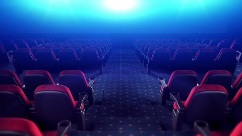Cinema Theater With Red Chairs. Endless Movement Towards the Screen. Loop. - stock footage