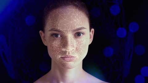 3D Scanning of a Beautiful Woman For Facial Recognition and 3D Polygonal Mesh. - stock footage