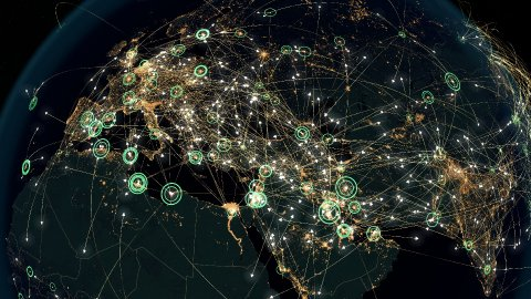 Many Arrows fly between Cities. Global Communications over Asia and Europe. - stock footage