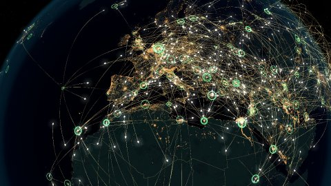 Many Arrows Fly Between Cities. Global Communications over Europe. - stock footage