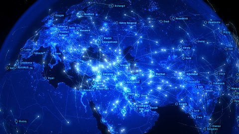Global Communications over Asia and Europe. Arrows Fly Slowly Between Cities. - stock footage