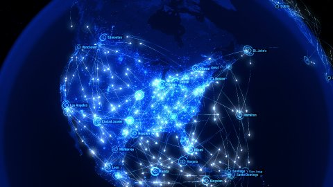 Global Communications over North America. Arrows Fly Slowly Between Cities. - stock footage